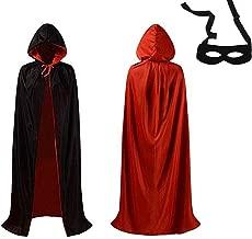 زي زي زي شبابي مصاص الدماء من XoYo ذو قلنسوة يمكن ارتداؤه على الوجهين أحمر وأسود من العصور الوسطى للأطفال البالغين مع قناع العين الأسود