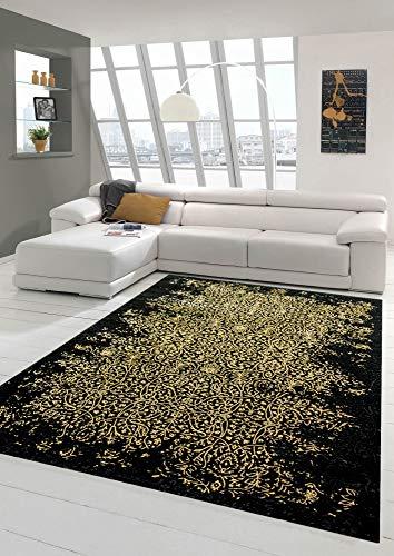 Teppich modern Designerteppich Ornamente in schwarz Gold Größe 80x150 cm
