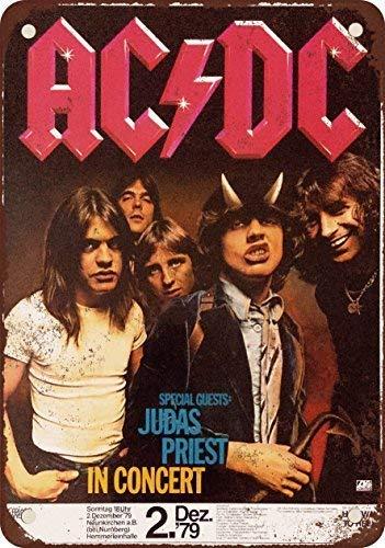 Fluse 1979 Ac/Dc E Judas Priest In Germania Vintage Metal Art Chic Retro Blechschild 8 x 12 Zoll Metallschilder