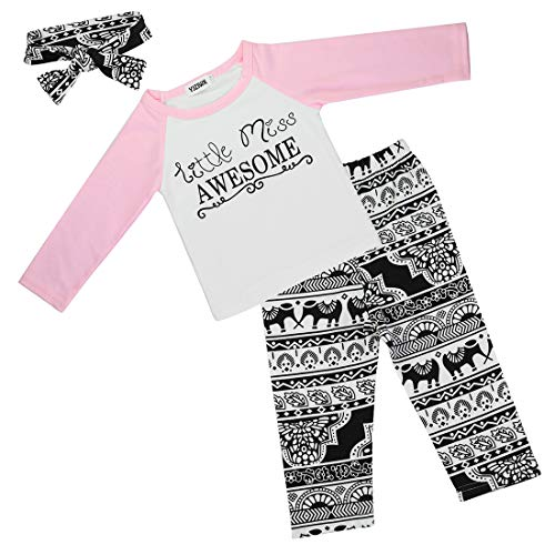 3 Pcs Baby Girls Clothes, Long Sleeve T-Shirt Tops Floral Pants with Headband Toddler Girl Outfits Set Pink Letter 4-5T