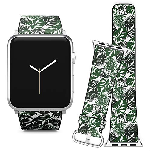Price comparison product image Compatible with Apple Watch iWatch (38 / 40 mm) Series 5,  4,  3,  2,  1 / / Leather Replacement Bracelet Strap Wristband + Adapters / / Monstera Leaves Tropical