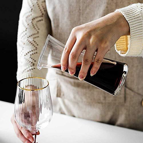Decantador de Vino Vino De La Jarra - Soplado Sin Plomo De Cristal Rojo Vino De La Jarra, Decantación Aireador, Vino De Regalo, Accesorios De Vino (290ml, 610ml)