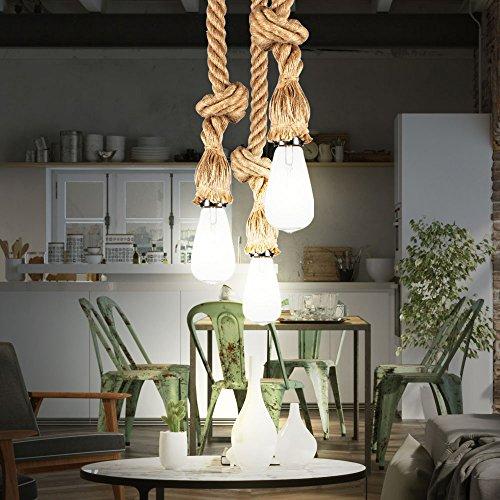 3er Set Maritim Hanf Seile braun Hänge Leuchten Decken Beleuchtung Pendel Lampen E27 Metall schwarz