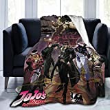JoJo's Bizarre Adventure Blanket Super Soft Flannel Plush Fluffy, Light, Warm, Breathable, Comfortable, for Couples and Families. Black 50'X40'