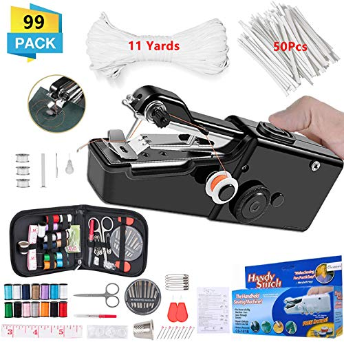 Handheld Sewing Machine, Mini Handy Cordless Portable Sewing Machine, with Sewing KIT 11 Yards Elastic Band and 50Pcs Nose Bridge Band Clip for Beginners Quick Handy Stitch DIY Sewing Crafts 99 PCS