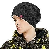 Winter Fleece Lined Beanie Slouchy Ski Snowboard Knit Watch Hat Oversized Sock Skull Cap for Men Women (Black)