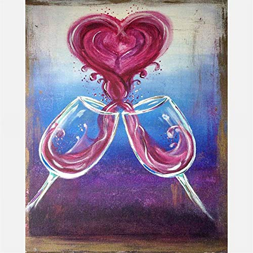 DIY 5D Diamond Painting kits completo for Adults/Niños Grande Talla, Vino Tinto Corazón bordado Diamante Pintura punto de cruz Rhinestone cristal art para decor pared del hogar Round drill,50x70cm