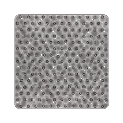 Bligli - Tappetino da doccia quadrato antiscivolo, con cubo d'acqua in PVC traslucido, anti-muffa, con ventose, 54 x 54 cm, grigio