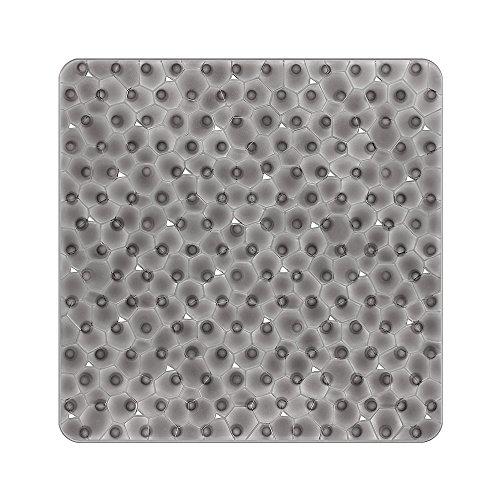 BliGli Rutschfeste quadratische Duschmatte für Badezimmer Wasser Cube durchscheinende PVC Anti-Schimmel Anti-Rutsch-Badematte mit Grip Saugnäpfen (grau-54 * 54cm)