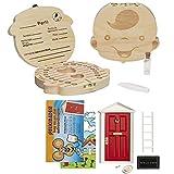 LA PUERTA MÁGICA del Ratoncito Pérez + Caja dientes de leche + pinzas + botella esterilizadora + escalera + plato + queso + felpudo + llave + dibujo fondo de puerta + postal (Rojo Niño)