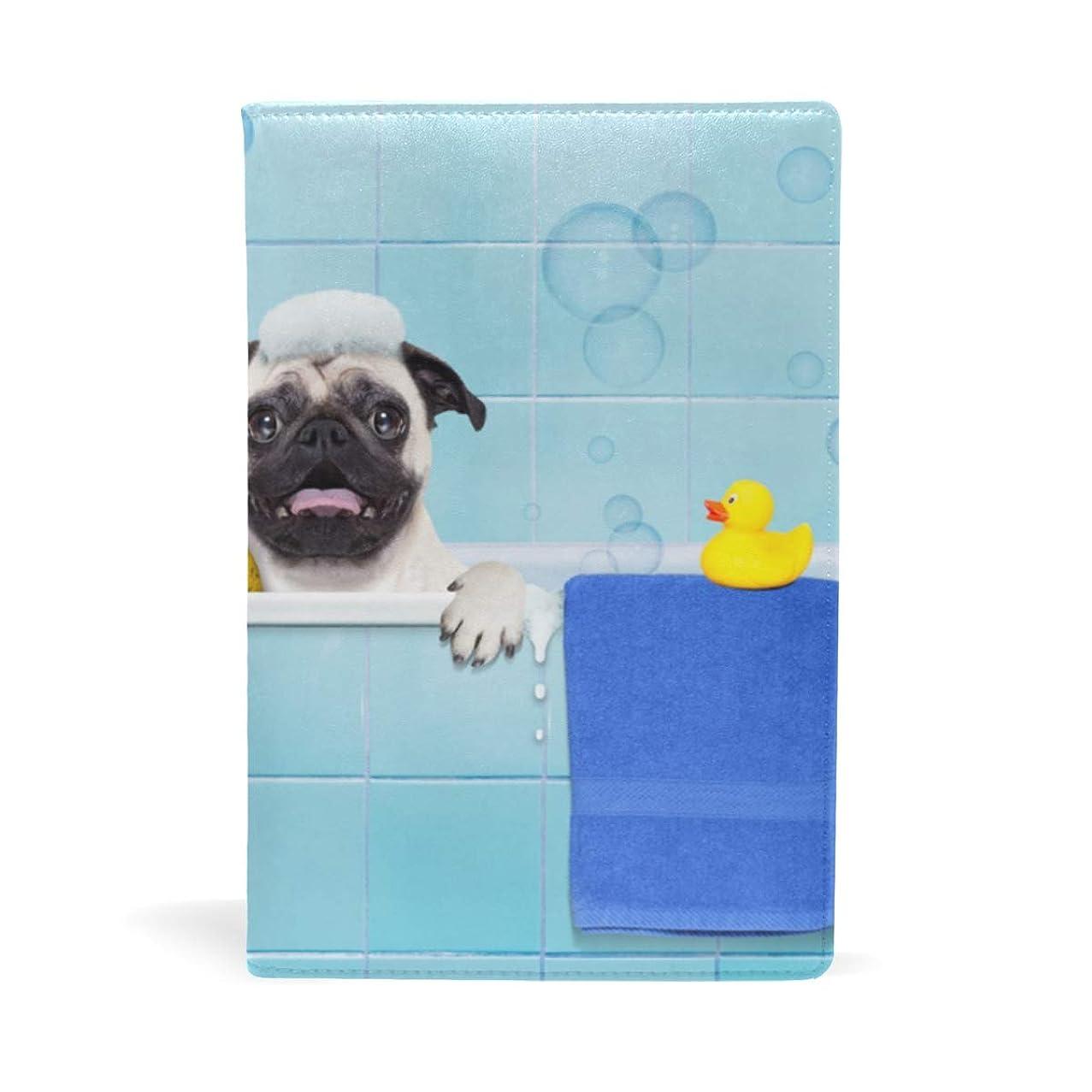 マグ虹メモシャワー浴びる犬 ブックカバー 文庫 a5 皮革 おしゃれ 文庫本カバー 資料 収納入れ オフィス用品 読書 雑貨 プレゼント耐久性に優れ