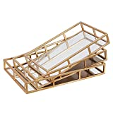 Serving Display Trays Metal Vintage Nesting Food Tray Tray Mirror Gold Mirror Tray Perfume Tray Mirror Vanity Tray Dresser Tray Ornate Tray Metal Decorative Tray Jewelry Perf for Living Room(Set of 3)