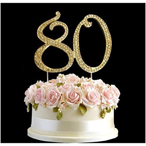 Rhinestone Crystal Birthday Cake Topper Number Pick 80th Diamante Gems Decoration