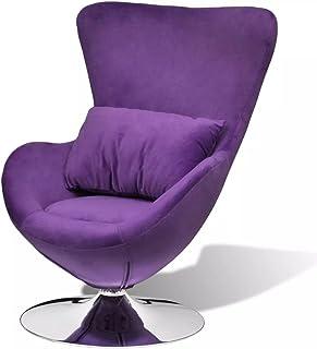 mewmewcat Sillón en Forma de Huevo Mecedoras de Salón Púrpura y Plata 64 x 64 x 86 cm