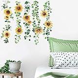 Runtoo Pegatinas de Pared Girasol Stickers Adhesivos Vinilo Flores Plantas Decorativas Salon Dormitorio Habitacion Bebe