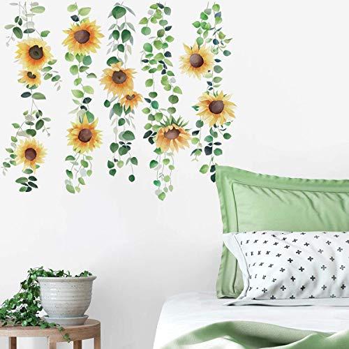 Runtoo Pegatinas de Pared Girasol Stickers Adhesivos Vinilo Flores Plantas Decorativas Salon...