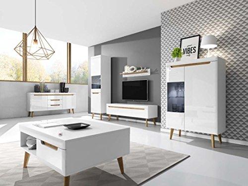 Furniture24 Wohnzimmer Set NORDI Kommode Vitrine Couchtisch Tv Schrank Hängeregal mit LED Beleuchtung Skandinavische Stil (Weiß/Weiß Hochglanz)