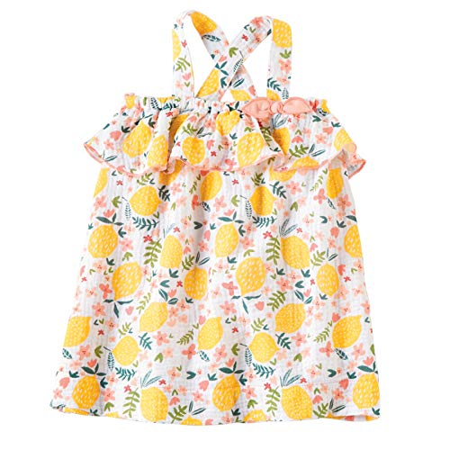 Mud Pie Baby Girls' Lemon Floral Toddler Dress, Multi, 4T