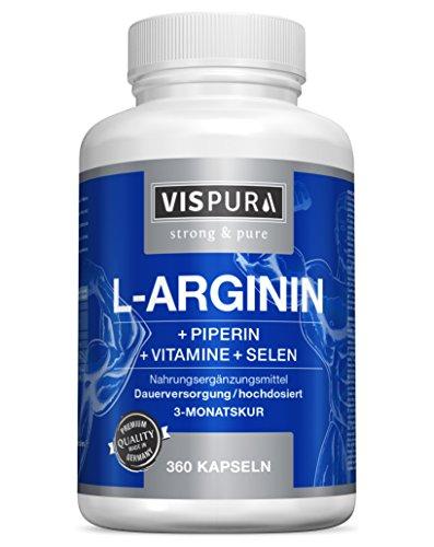 VISPURA® L-Arginin Kapseln hochdosiert, 360 Kapseln mit VITAL-Formel B6, B12, Folsäure, Selen und Piperin für 3 Monate, Pre Workout Nahrungsergänzung ohne unnötige Zusätze