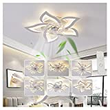 Lilizhou Ceiling Fan with Light, Thin Silent Ceiling Fan with Remote Control 6-Speed Speed Adjustment 3-Tone LED Light Embedded Installation Suitable for Living Room Kitchen,275in