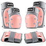 Purpol Kids Youth Adult Knee Pads Elbow Pads Wrist Guards 3 in 1 Protective Gear Set for Multi Sports Skateboarding Inline Roller Skating Cycling Biking BMX Bicycle Scooter (Pink, Large)