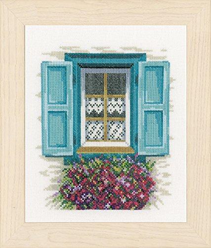 Lanarte Zählmusterpackung Fenster mit blauen Läden Zählst Kreuzstichpackung, Baumwolle, Mehrfarbig, 18.0 x 21.0 x 0.30 cm