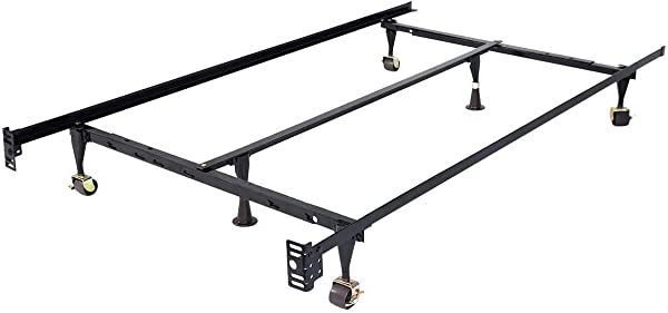 Toolsempire Heavy Duty Size Adjustable Metal Bed Frame With Center Support And Rug Rollers Low Profile Bed Frame Adjustable Width Fits Twin Full Queen Black