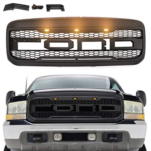 VZ4X4 Raptor Style Grille Mesh Grill, Compatible with Ford F250 1999-2004 F-250 F-350 F-450 F-550, 2000-2005 Excursion, Matte Black