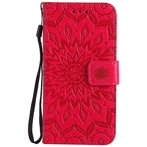 Lomogo Huawei [P8 Lite 2017] Hülle Leder, Schutzhülle Brieftasche mit Kartenfach Klappbar Magnetverschluss Stoßfest Kratzfest Handyhülle Case für Huawei P8Lite (2017) - KATU22488 Rot