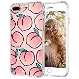 MOSNOVO iPhone 8 Plus Case, iPhone 7 Plus Case, Peach Clear Design Printed Transparent Hard Back Case with TPU Bumper Protective Case Cover for iPhone 7 Plus/iPhone 8 Plus