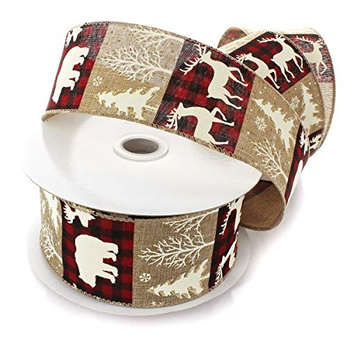 Ribbon Traditions Buffalo Plaid Moose/Trees on Natural Wired Ribbon 2 1/2' by 25 Yards