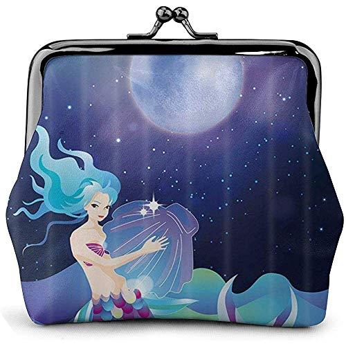 Hermosa niña Sirena con Conchas Marinas Hebilla de Surf Monedero Bolsa Retro Besos Monedero con Cerradura Monedero