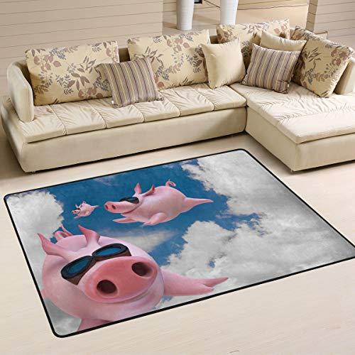 XiangHeFu Alfombra de área personalizada con diseño divertido de cerdo volador de...