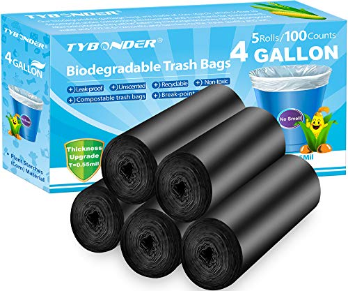 4 Gallon Biodegradable Trash Bags 0.55Mil Ultra Thicken Garbage Bags Compostable Recycled Rubbish Wastebasket Bins Liners Bags for Kitchen Bathroom Office Home Cat Litter(100Counts/Black)
