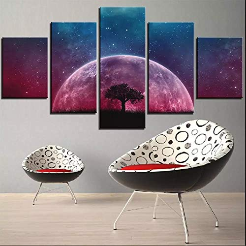 QZWXEC Leinwanddrucke 5 Pieces Moon and Tree Canvas Painting Space Posters Starry Sky Pictures Purple Blue Wallpapers for Home Bedroom Room Decor Art