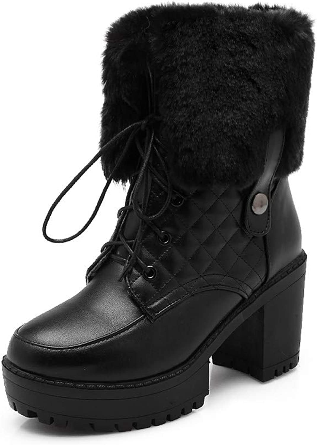 MFairy Women's Winter Platform Combat Boots Ankle-High Lace-up Chunky Boots