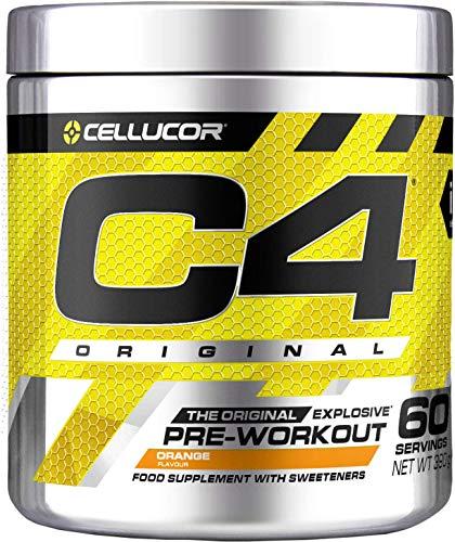 C4 Original | polvere pre allenamento Esplosione all'arancia | Integratore per uomini e donne | 150 mg caffeina + Beta-Alanina + Creatina monoidrata | 60 porzioni