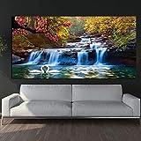 Waterfall Woods Swan Pinturas sobre lienzo Carteles modernos...