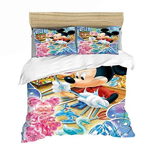 Dakeai - Funda de edredón de Mickey Minnie 3D Disney para niña, 100% microfibra, juego de cama con funda de almohada y funda de almohada para niña, 7,135 x 200 cm