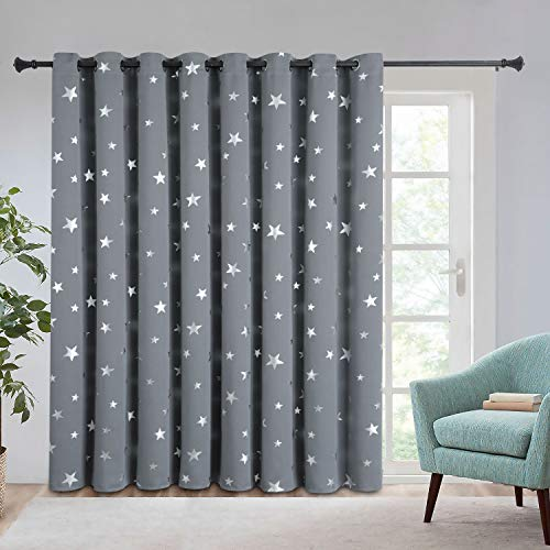 Estelar Textiler Extra Wide Room Divider Blackout Curtains Thermal Insulated Curtains Grommet Top 96 Inch Length for Sliding Glass Door, 100W×96L, Light Grey, 1 Panel