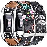 Yandu Bracelet de rechange en cuir pour Fitbit Charge 2 - Bracelet réglable classique - Connecteurs métalliques (2 fleurs rouges + fleurs grises)