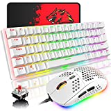 Teclado mecánico para Juegos con diseño del Reino Unido, RGB 14 Efectos de retroiluminación Mini 62 Teclas con Cable Tipo C + Ligero RGB 6400DPI Honeycomb Mouse + Mouse Pad Compatible con PS4, PC