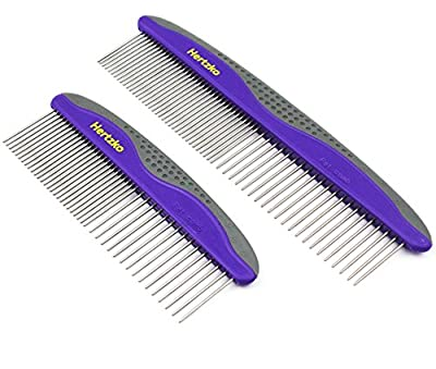 Hertzko 2 Pack Pet Combs Small & Large Comb Included for Both Small & Large Areas -Removes Tangles, Knots, Loose Fur and Dirt. Ideal for Everyday Use for Dogs and Cats with Short or Long Hair from dog comb