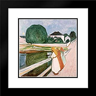 White Night 20x20 Black Modern Frame and Double Matted Art Print by Munch, Edvard