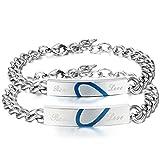 JewelryWe Joyería Pulseras para Parejas Enamorados, Azul Te Tengo en Mi Corazón Corazón Partido Pulseras Acero Inoxidable, San Valentín