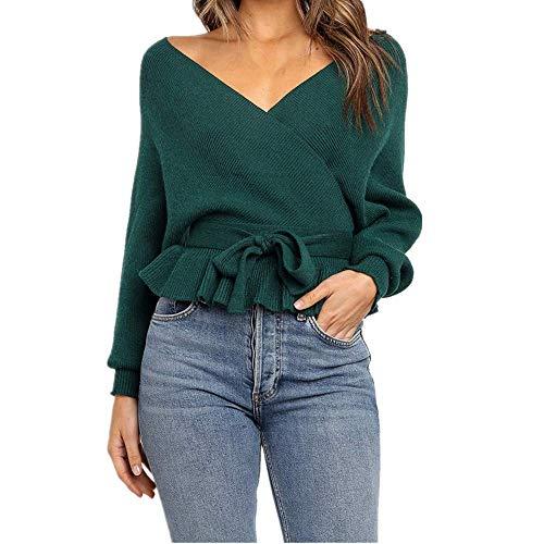 Kabxryaclo - Suéter de manga larga para mujer con bloque de color a rayas y cuello