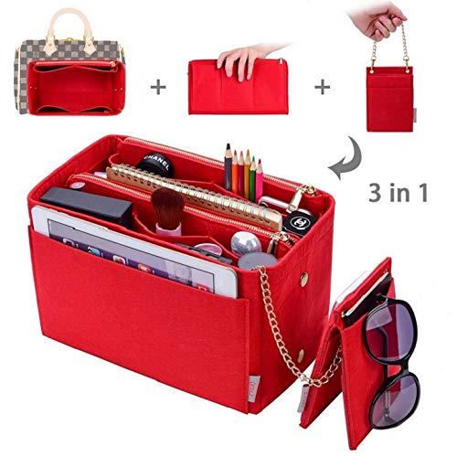 Purse Organizer, bag organizer With 2 Metal Zippers, RFID Blocking Pocket Purse Organizer Insert,5 Sizes, 6 Color (Medium, Red)