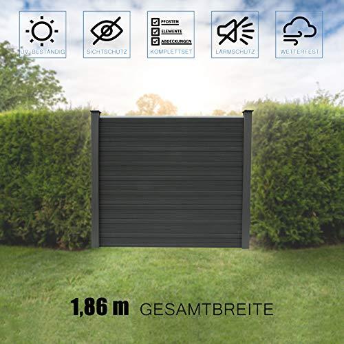 Home Deluxe - WPC Sichtschutzzaun V2 inkl. Pfostenträgern, Abdeckungen und Montagematerial - Anthrazit, 1 x Element + 2 x Pfosten