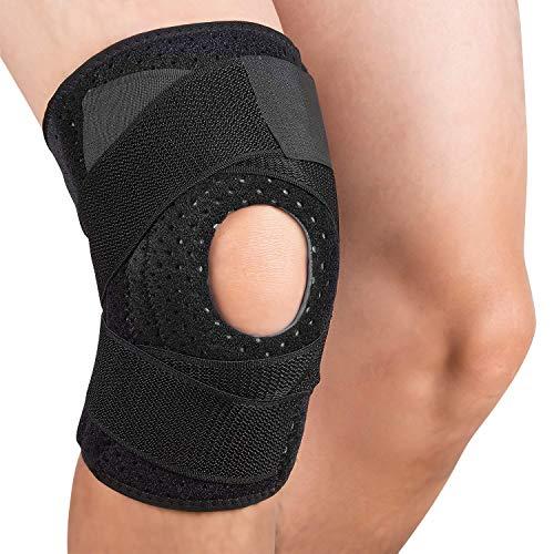 Tutore per ginocchio, Ginocchiere a compressione regolabile, Ginocchiera per uomo donna Ginocchiera traspirante per basket, corsa, escursionismo, Palestra Unisex Nero