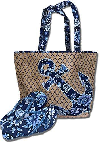 Vera Bradley Anchor'Tropics Tapestry' Beach Tote Bag & Flip Flops (M (7-8))
